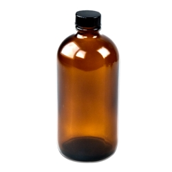 16 oz. Amber Boston Round Glass Bottles with 28/400 Polycone-lined Caps