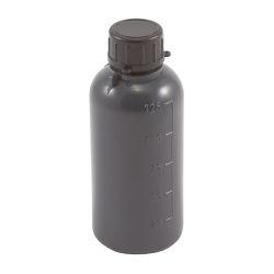 125mL Kartell LDPE Graduated Narrow Mouth Gray Bottle with Cap