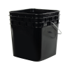 3-1/2 Gallon Black HDPE Square Bucket (Lid Sold Separately)