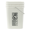 Letica® 4-1/4 Gallon White HDPE Square Bucket (Lid Sold Separately)
