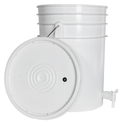 White 6 Gallon Tamco ® Fermentation Bucket with Spigot & Lid