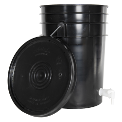Black 6 Gallon Tamco ® Fermentation Bucket with Spigot & Lid