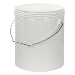 1 Gallon White Rim-less HDPE Pail with Handle