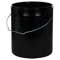 1 Gallon Black Rim-less HDPE Pail with Handle