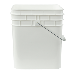 3-1/2 Gallon White HDPE Square Bucket (Lid Sold Separately)