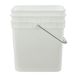 3-1/2 Gallon Natural HDPE Square Bucket (Lid Sold Separately)
