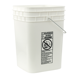 Letica ® 4-1/4 Gallon White HDPE Square Bucket (Lid Sold Separately)