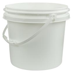 White Polypropylene 3 Gallon/11 Liter Bucket with Handle