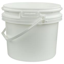 White Polypropylene 3-1/2 Gallon/14 Liter Bucket with Handle