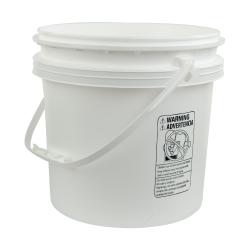 White Polypropylene 4 Gallon/15 Liter Bucket with Handle