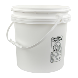 White Polypropylene 4-1/4 Gallon/16 Liter Bucket with Handle