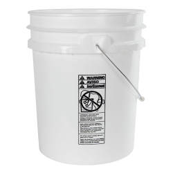 5 Gallon White HDPE UN Rated Pail with Handle