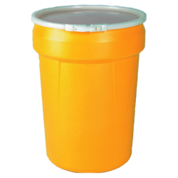 30 Gallon Yellow Open Head Poly Drum with Plastic Lever-Lock Ring