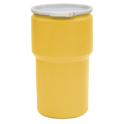 14 Gallon Yellow Open Head Poly Drum with Plastic Lever-Lock Ring