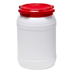 5.3 Gallon White UN Rated HDPE Wide Mouth Drum with Red Lid - Stackable