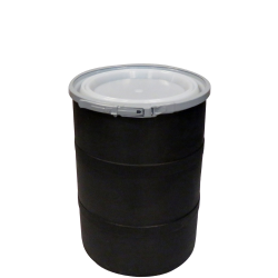 """15 Gallon Black Open Head Drum 17.875"""" Dia. with Band x 22.5"""" Hgt."""