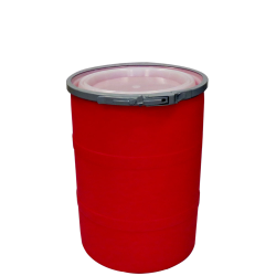 """15 Gallon Red Open Head Drum 17.875"""" Dia. with Band x 22.5"""" Hgt."""