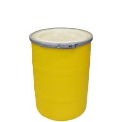"""15 Gallon Yellow Open Head Drum 17.875"""" Dia. with Band x 22.5"""" Hgt."""
