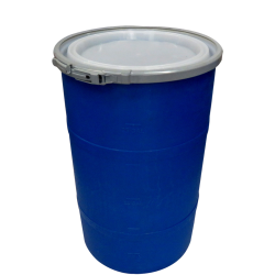 """30 Gallon Blue Open Head Drum 20.25"""" Dia. with Band x 30.25"""" Hgt."""