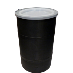 """30 Gallon Black Open Head Drum 20.25"""" Dia. with Band x 30.25"""" Hgt."""