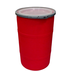 """30 Gallon Red Open Head Drum 20.25"""" Dia. with Band x 30.25"""" Hgt."""