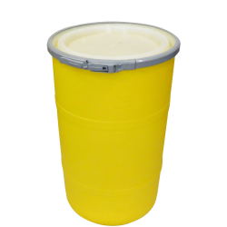 """30 Gallon Yellow Open Head Drum 20.25"""" Dia. with Band x 30.25"""" Hgt."""