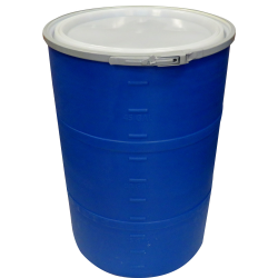 """55 Gallon Blue Open Head Drum 25.625"""" Dia. with Band x 35"""" Hgt."""