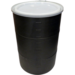 """55 Gallon Black Open Head Drum 25.625"""" Dia. with Band x 35"""" Hgt."""