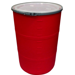 """55 Gallon Red Open Head Drum 25.625"""" Dia. with Band x 35"""" Hgt."""