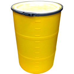 """55 Gallon Yellow Open Head Drum 25.625"""" Dia. with Band x 35"""" Hgt."""