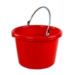 Red Molded Rubber-Polyethylene 8 Quart Pail