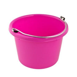 Hot Pink Molded Rubber-Polyethylene 8 Quart Pail