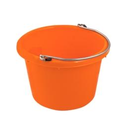 Tangerine Orange Molded Rubber-Polyethylene 8 Quart Pail