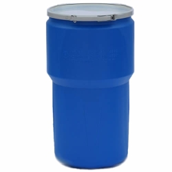 14 Gallon Blue Open Head Poly Drum with Metal Lever-Lock Ring