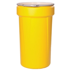 55 Gallon Yellow Open Head Poly Drum with Metal Lever-Lock Ring