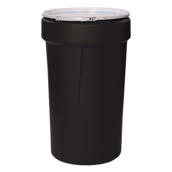 55 Gallon Black Open Head Poly Drum with Metal Lever-Lock Ring