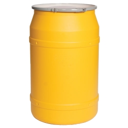 55 Gallon Yellow Straight Sided Open Head Poly Drum with Metal Lever-Lock Ring