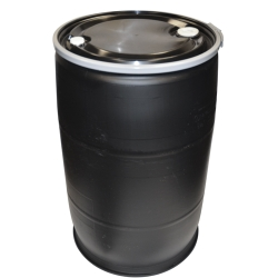 55 Gallon Open Top Black Poly Drum with Sidelever Lockband & Lid