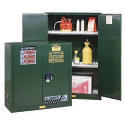 55 Gallon Manual-Close Justrite® Sure-Grip® EX Cabinet for Pesticides with Roller Assembly
