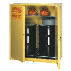 "55 Gallon 1 Drum Vertical Self Closing Cabinet - 31-1/4"" x 31-1/4"" x 65"""