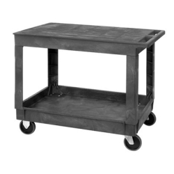 2 Shelf Quantum ® Plastic Utility Cart with Flat Top - 40