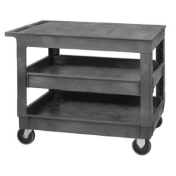 3 Shelf Quantum ® Plastic Utility Cart with Flat Top - 40