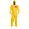 DuPont™ Tychem® 2000 Large Yellow Coveralls with Attached Hoods/Socks & Elastic Wrists/Face