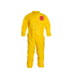 DuPont™ Tychem® 2000 4X-Large Yellow Bound Coveralls with Collar, Storm Flap & Elastic Wrists/Ankles