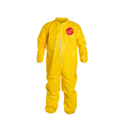 DuPont™ Tychem® 2000 Large Yellow Serged Coveralls with Collar, Storm Flap & Elastic Wrists/Ankles