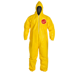 DuPont™ Tychem® 2000 X-Large Yellow Coveralls with Attached Hood & Elastic Face, Wrists & Ankles