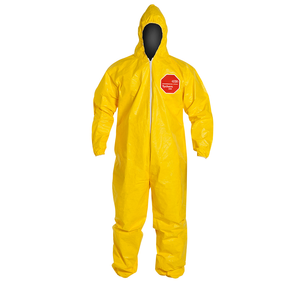 DuPont™ Tychem® 2000 2X-Large Yellow Coveralls with Attached Hood & Elastic Face, Wrists & Ankles