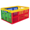 """Multi Color Vented Folding Crate - 19"""" L x 13-3/4"""" W x 9-1/2"""" Hgt."""