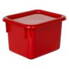 "Red Half Stowaway® Box with Lid - 6-3/5"" L x 8"" W x 5-1/2"" Hgt."