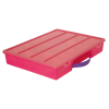 "Translucent Pink Large Organizer Case & Lid with Purple Handle - 13-1/4"" L x 10-1/2"" W x 2"" Hgt."